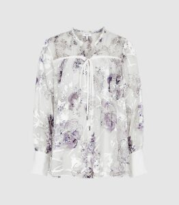 Reiss Anneka - Floral Printed Smock Blouse in Blue/white, Womens, Size 16