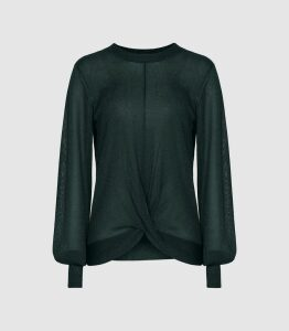 Reiss Steph - Metallic Twist Front Jumper in Dark Green, Womens, Size XXL