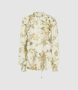 Reiss Alandra Print - Floral Printed Ruffled Top in Ivory, Womens, Size 16