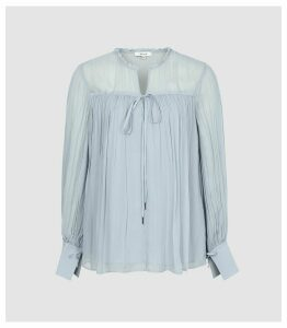 Reiss Marino - Smock Blouse in Pale Blue, Womens, Size 14