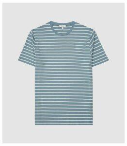 Reiss Holborn - Mercerised Striped Crew Neck T-shirt in Airforce Blue/ White, Mens, Size XXL