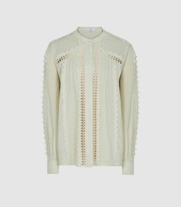 Reiss Chantal - Lace-embellished Cotton Blouse in Mint, Womens, Size 16