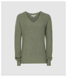 Reiss Audrey - V-neck Ribbed Jumper in Sage, Womens, Size XXL