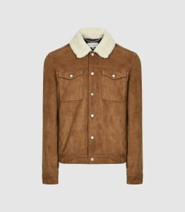Reiss Miles - Suede Jacket With Shearling Collar in Tobacco, Mens, Size XXL