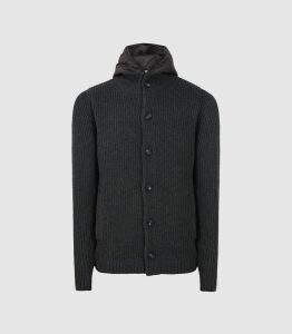 Reiss Carlos - Ribbed Cardigan With Hoodie Insert in Charcoal, Mens, Size XXL