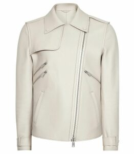 Reiss Sahara - Oversized Leather Jacket in Off White, Womens, Size 14