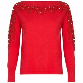 Yumi Pearl Embellished Floral Lace Jumper
