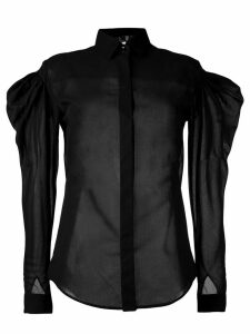 Saint Laurent sheer puff-sleeve shirt - Black