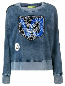 Versace Jeans Couture tiger patch applique washed sweatshirt - Blue