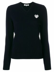 Comme Des Garçons Play V-neck logo patch top - Blue