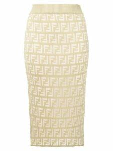 Fendi FF pattern midi skirt - Green