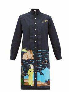 Kilometre Paris - Capri Embroidered-cotton Shirt Dress - Womens - Blue Multi