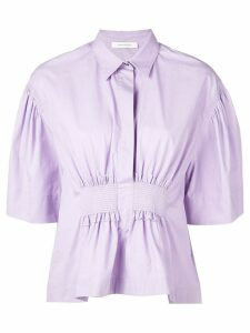Cédric Charlier collared blouse with ruched front - PURPLE