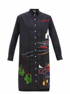 Kilometre Paris - Mykonos Embroidered-cotton Shirt Dress - Womens - Blue Multi