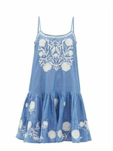 Juliet Dunn - Floral-embroidered Cotton-chambray Mini Dress - Womens - Blue White