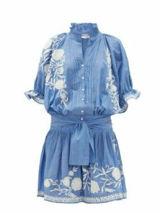 Juliet Dunn - Floral-embroidered Cotton-chambray Dress - Womens - Blue White