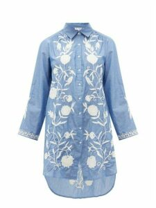 Juliet Dunn - Floral-embroidered Cotton-chambray Shirtdress - Womens - Blue White