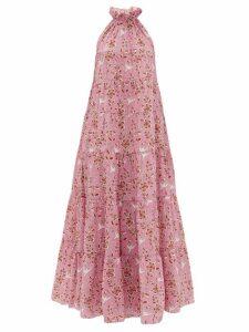 Rhode - Julia High-neck Tiered Floral-print Cotton Dress - Womens - Pink Print