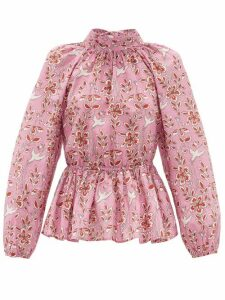Rhode - Damien Floral-print Open-back Cotton Blouse - Womens - Pink Print