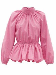 Rhode - Damien High-neck Open-back Cotton Blouse - Womens - Pink