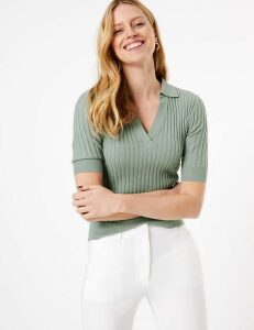 M&S Collection Ribbed Collar Neck Top