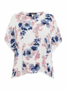 Ivory Floral Print Sparkle Top, Ivory