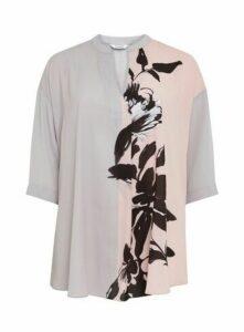 Grey Floral Print Shirt, Light Grey