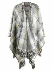 Missoni plaid knit poncho - Grey