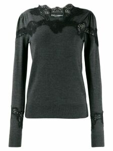 Dolce & Gabbana lace detail sweater - Grey