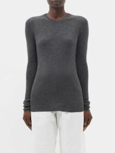 Raey - Roll-neck Fine-rib Cashmere Sweater - Womens - Navy