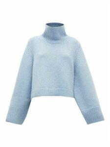 Khaite - Marion Split-cuff Cashmere Sweater - Womens - Light Blue