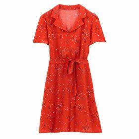 Floral Print Tie-Waist Tea Dress