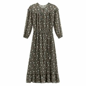 Printed Voile Midi Dress with Long Transparent Sleeves and Tie-Waist