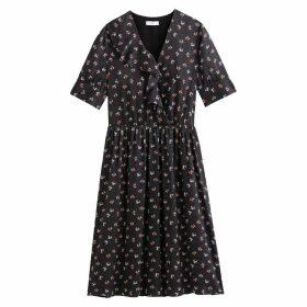 Satin Ruffled Wrapover Midi Dress with Short Sleeves