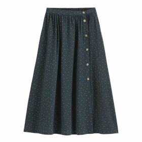 Polka Dot Full Skirt with Buttons