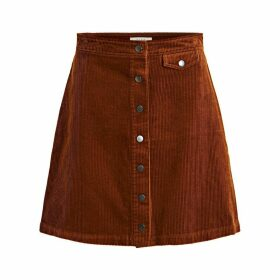 Buttoned Corduroy Skirt