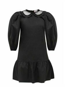 REDValentino - Ruffled Balloon-sleeved Dress - Womens - Black