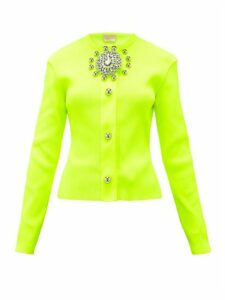 Christopher Kane - Crystal-embellished Ribbed-jersey Cardigan - Womens - Yellow