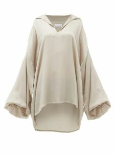 Raey - Hammered Silk Smock Blouse - Womens - Grey