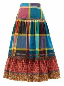 Gucci - Madras-check Gathered A-line Cotton Midi Skirt - Womens - Blue Multi