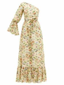 Borgo De Nor - Regina Fil-coupé Floral-print Silk-blend Dress - Womens - Yellow Multi