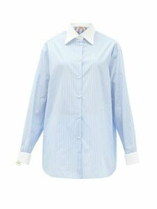 No. 21 - Embellished-cuff Pinstriped Cotton Shirt - Womens - Blue White