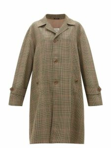 Maison Margiela - Oversized Single-breasted Checked Twill Coat - Womens - Green Multi