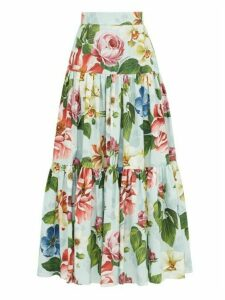 Dolce & Gabbana - Rose-print High-rise Cotton Skirt - Womens - Blue Print