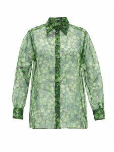 Dolce & Gabbana - Clover-print Silk-organza Blouse - Womens - Green Print