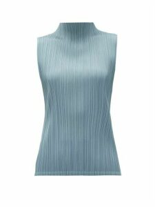 Pleats Please Issey Miyake - High-neck Technical-pleated Top - Womens - Light Blue
