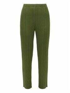 Pleats Please Issey Miyake - Slim-leg Technical-pleated Trousers - Womens - Khaki