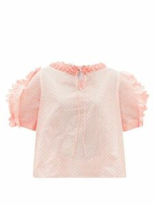 Horror Vacui - Fanny Polka-dot Fli-coupé Cotton-poplin Blouse - Womens - Pink