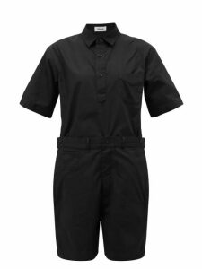Chimala - Short-sleeved Cotton Playsuit - Womens - Black