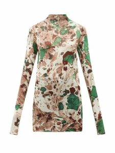 Jil Sander - Marble-print Silk-jersey Top - Womens - Green Multi